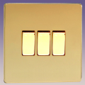 Varilight 3 Gang 1 or 2 Way 10A Rocker Light Switch Screwless Polished Brass Dec Switch - XDV3S